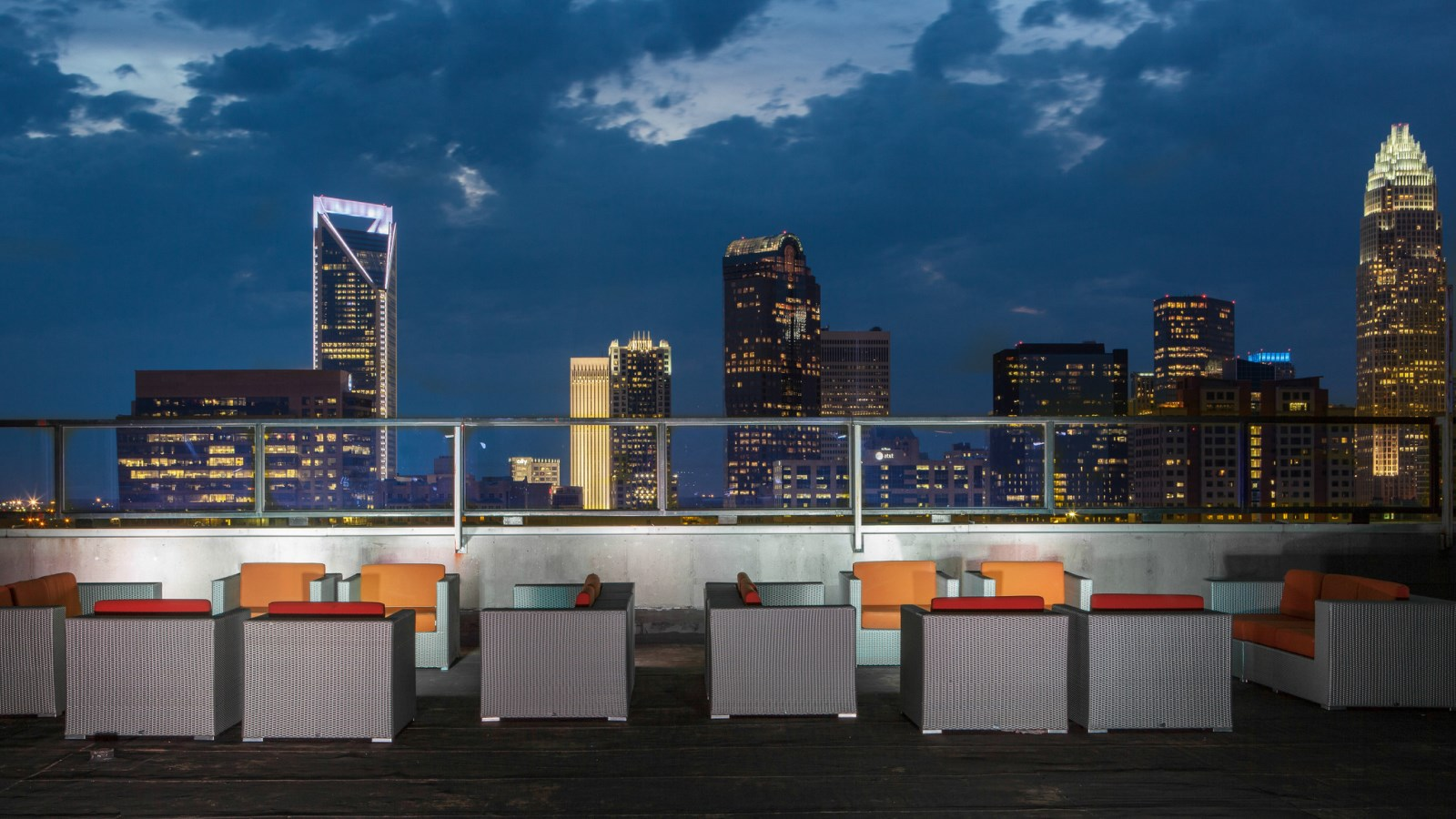 Charlotte Restaurants - City Lights Rooftop View